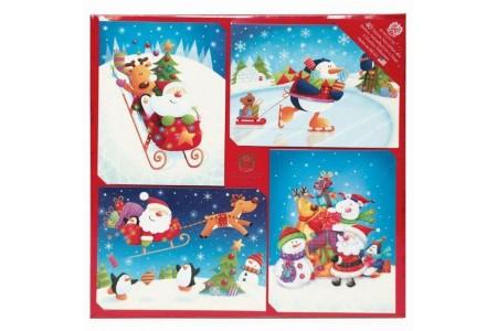 Christmas Cards Burgoyne Traditional Christmas Cards 40ct.Santa reindeer snowmen