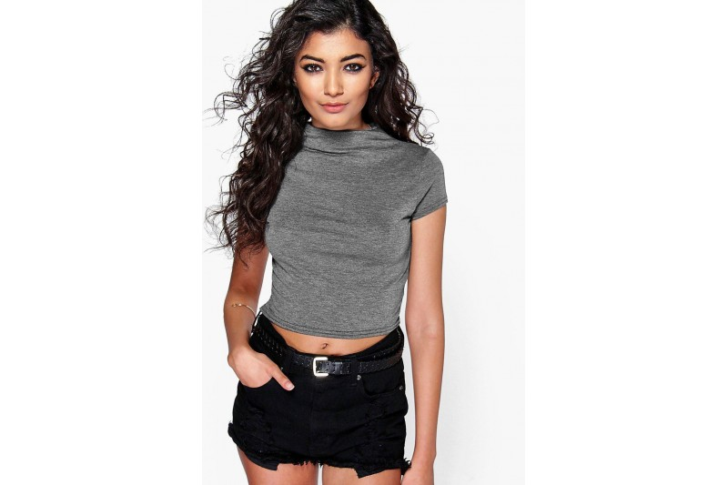 Boohoo Sarah Crop High Neck T-shirt Grey