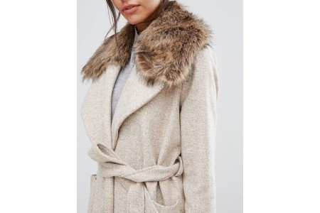 New Look Petite Detachable Faux Fur
