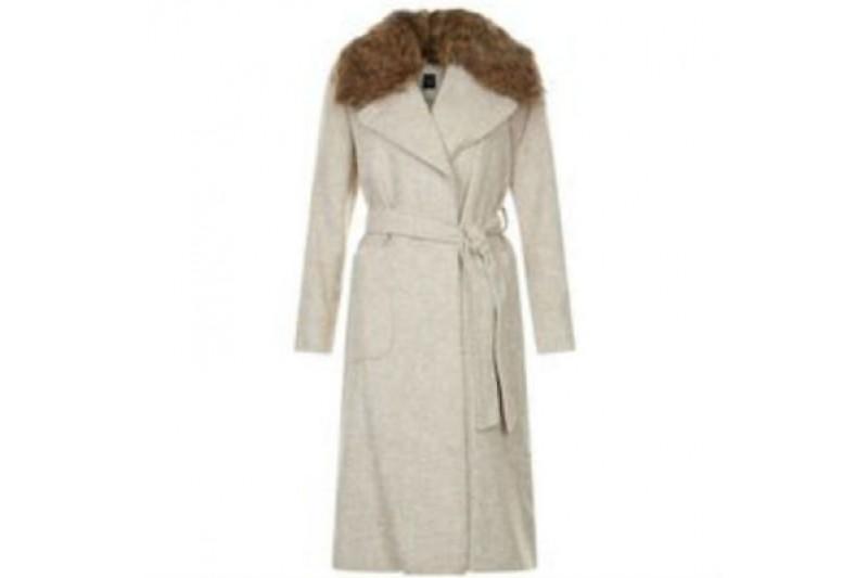 New Look Belted Beige Coat Petite Detachable Faux Fur Size 10