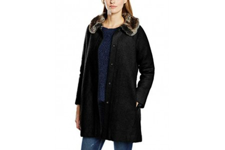 Yumi Winter Wool Fur Collar Swing Coat
