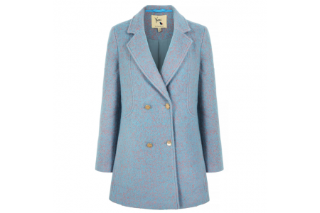 Yumi Boucle Wool Blend Duck Egg Blue Long Sleeve Double Breasted Coat Size 10 RRP £130
