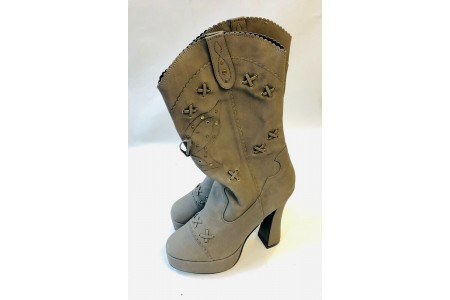 Platform Boots Electra Taupe UK 6 5 Inch Chunky Heeled Cowgirl Ankle Boots