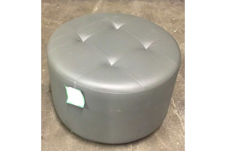 PU Leather Grey Footstool on swivel Rotary Base in Steel Silver