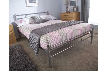 "Morgan 4'6"" Double Bedstead Silver Bed Frame"