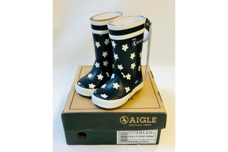 Aigle Lolly Pop Print Unisex Rains Kids Wellington Welly Boots Navy Infant 3