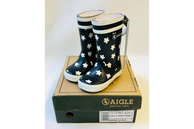 Aigle Lolly Pop Print Unisex Rains Kids Wellington Welly Boots Navy Infant 3