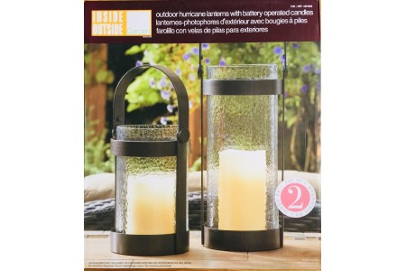 Hurricane Lanterns (2 pack) With Battery Operated Candles Inside Outside Garden