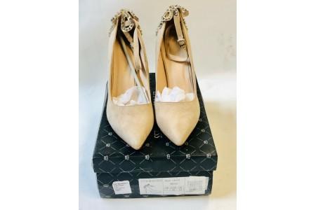 Little Mistress Footwear Nude Embellished Back LH141 Beige UK Size 7