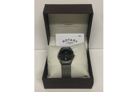 Rotary Men's Quartz Black Dial Analogue Display Silver Stainless Steel Bracelet