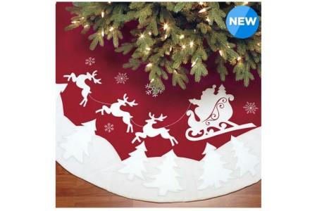 Christmas Tree Skirt Luxury Faux Fur Red Santa & Reindeer 1.6m (66in)