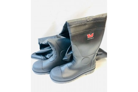 Tuf Thigh Wader Safety Toe & Midsole Black Ribbed Boot size 9