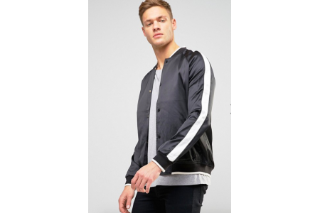 New Look Sateen Bomber Jacket In Black With Contrast Sleeve LARGE
