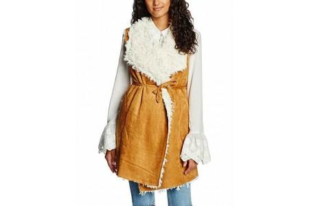Somedays Lovin Women's Groover Waterfall Sherpa Vest Jacket Size Large