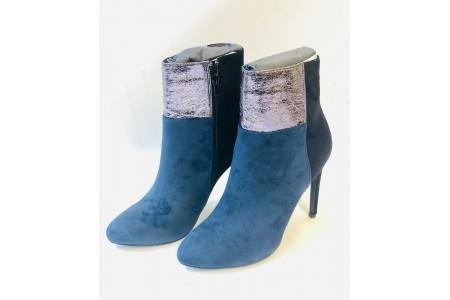 Black Navy Silky Suede Metallic Crackle High Heel UK 7 Boots Stiletto