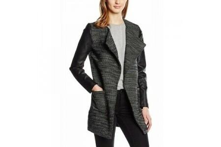 New Look Wool Mix PU Sleeve Open Jacket Black & Grey Mesh Fleck Size 14