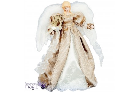 Champagne Gold Angel Fairy Christmas Tree Top Topper Decoration Vintage 40cm