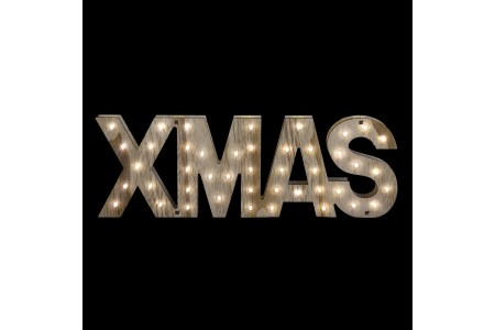 Battery Operated LED 3D Xmas Wooden Lettering Decoration
