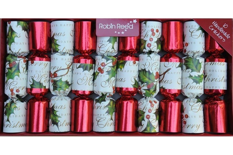 English Christmas Crackers.Robin Reed Bows And Berries Traditional English Christmas Crackers 10 Pack