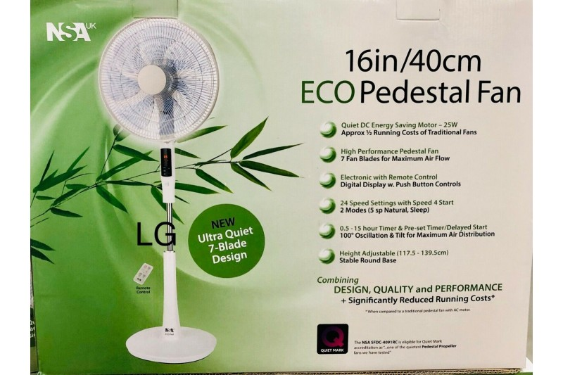 Pedestal Fan with Remote Control & Timer SFDC-4091RC NSA Eco 40cm Energy Saving