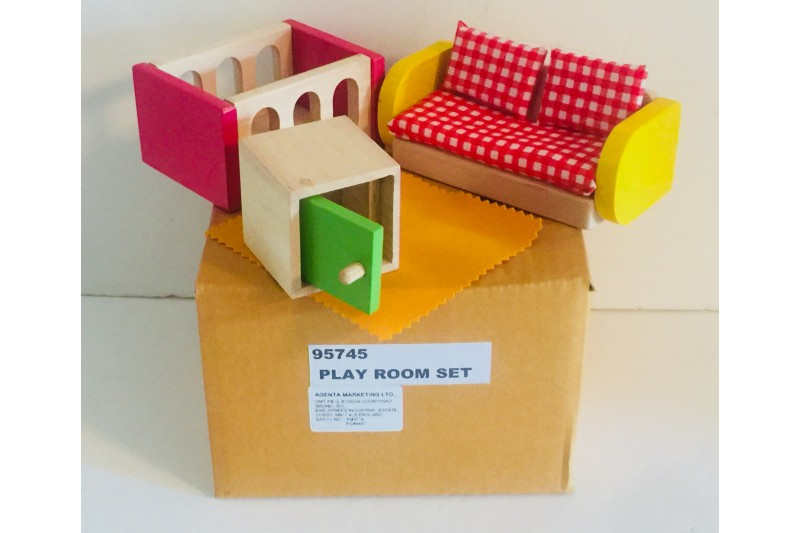 Doll House Wooden Furniture Play Room Set 95745