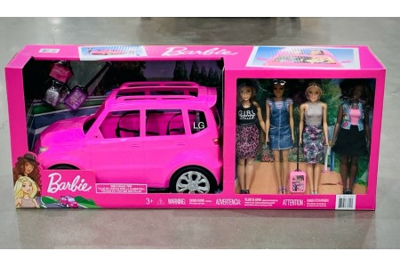 Barbie SUV Vehicle Road Trip Set With 4 Barbie Dolls