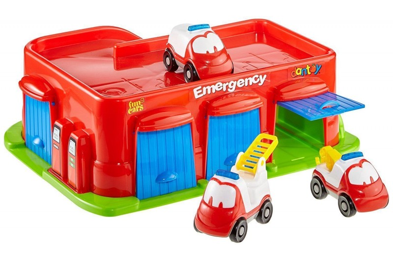 Dantoy Emergency Fun Cars Garage & Car Park With 3 Vehicles Early Learning