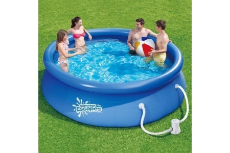 Summer Escapes 10ft Quick Set Ring Pool + Cover + Water Filter Pump